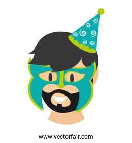 man head with birthday party hat and mask