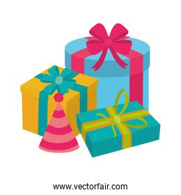 presents gifts with ribbon celebration to party celebration