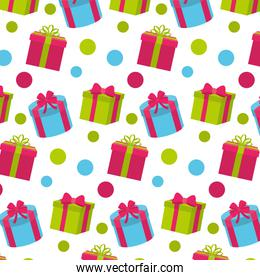 presents with ribbon bow and points background