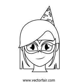 line woman head with party hat and mask