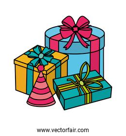 color presents gifts with ribbon celebration to party celebration