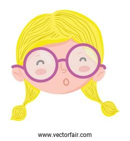 funny child girl head with glasses