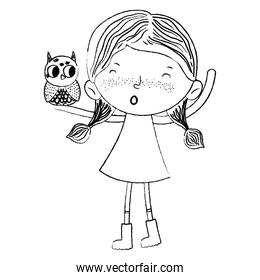 grunge child girl with owl animal in the arm
