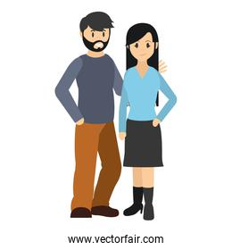 couple man with beard and woman hairstyle