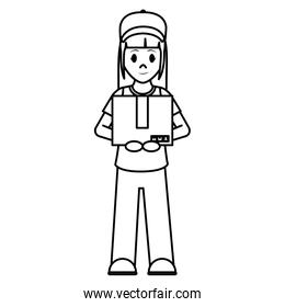 line delivery woman with box package service