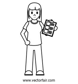 line delivery woman with check list service