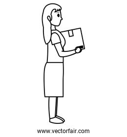 line woman with box delivery package service