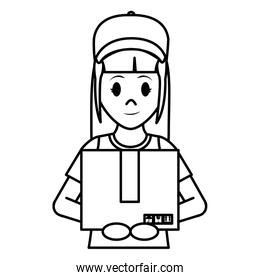 line delivery woman with cap and box package