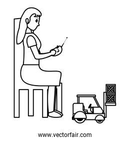 line woman sitting and playing with industrisla forklit packages