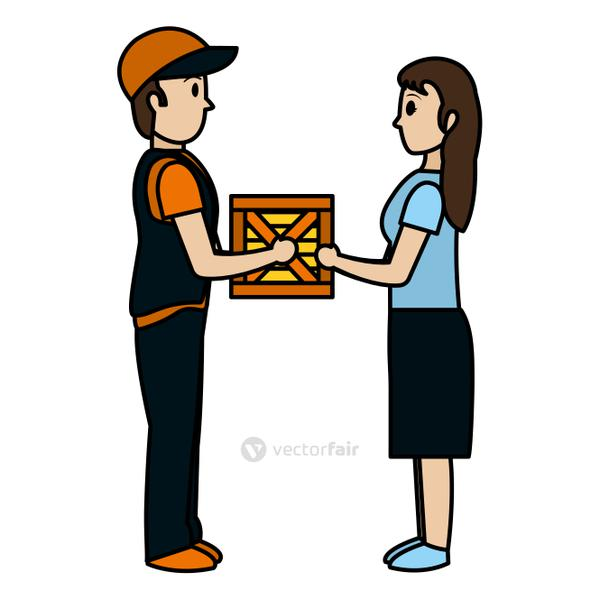 color man delivering package service to woman