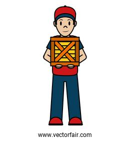 color delivery man with wood box service