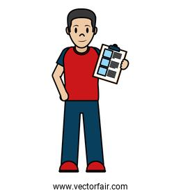 color delivery man with check list service