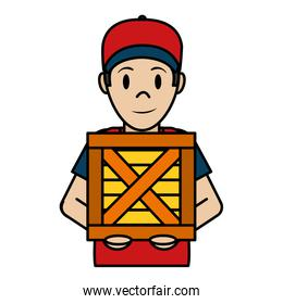color delivery man with cap and wood package