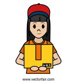 color delivery woman with cap and box package