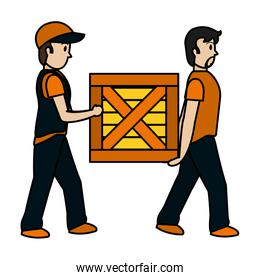 color delivery men with wood package service