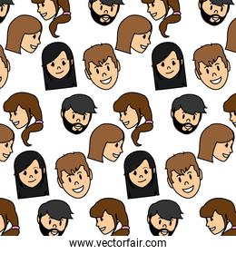 color women and men head with hairstyle background