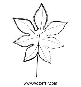 grunge exotic branch with natural leaves design