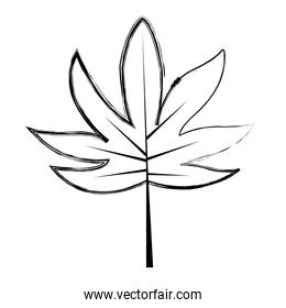 grunge natural branch with exotic leaves style