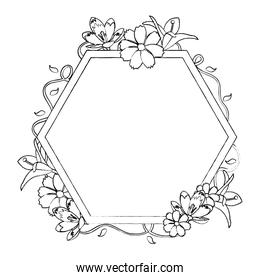 grunge exagon with flowers and exotic leaves decoration