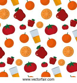 delicious fruits with healthy jucice and vegetables background