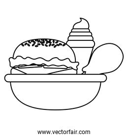 line hamburger with ice cream cone and thigh in the bowl