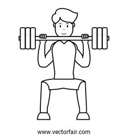 line man do exercise with weight object and sport clothes