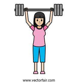color woman with sport clothes and wight up