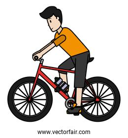 color man ride bicycle to healthy lifestyle