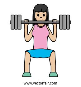 color woman do exercise with weight object and sport clothes