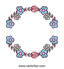 circle exotic flowers plant style
