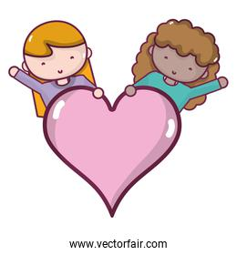 women with blouse and heart love symbol