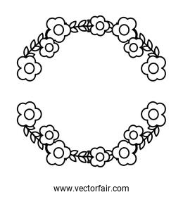 line circle exotic flowers plant style