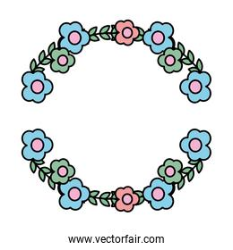 color circle exotic flowers plant style