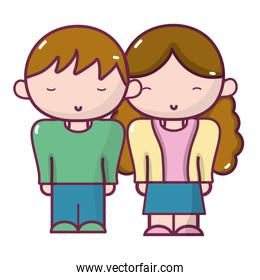boy and girl together with casual clothes