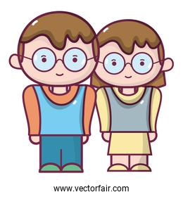 boy and girl together with glasses and hairstyle