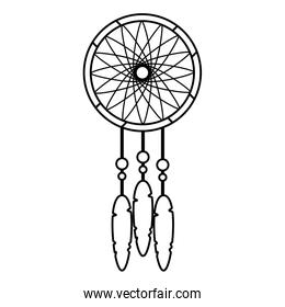 line dream catcher with feather and ornament decoration
