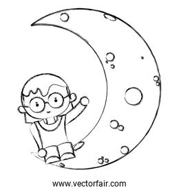 grunge girl hairstyle and glasses seating in the moon