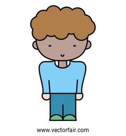 color boy with hairstyle and fashion casual clothes