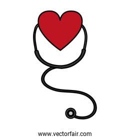 color stethoscope tool to clinic heart pulse