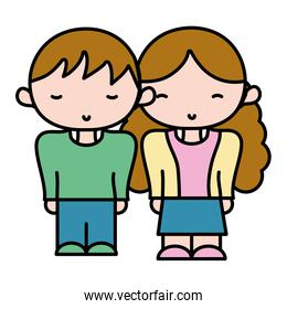color boy and girl together with casual clothes