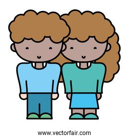 color boy and girl together with fashion hairstyle
