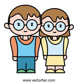 color boy and girl together with glasses and hairstyle