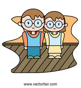 color boy and girl together with glasses and clothes