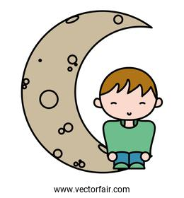 color boy with casual clothes seating in the moon