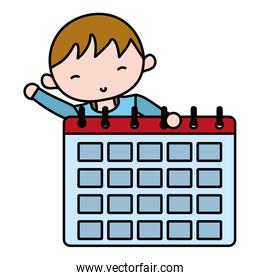 color boy hairstyle with calendar organizer information