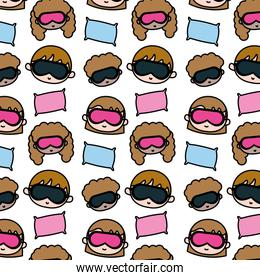 color boys and gils head with sleep glasses and pillow background