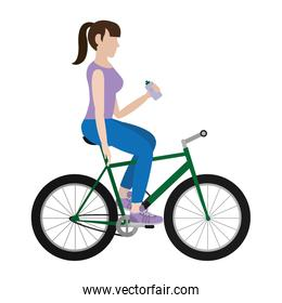 woman ride bike and drinking water