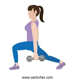 woman with dumbbels and lunges each leg