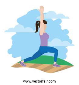 woman with hands up and lunges each leg in the landscape