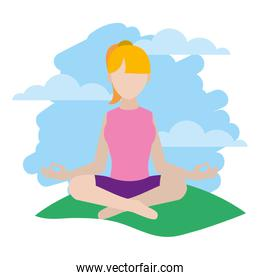 woman sitting yoga position in the landscape